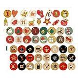 Wenxiaw 24 Pegatinas de Calendario de Adviento de Navidad 1-24 Etiquetas Navideñas para Cookies Candy Sellado, Calendario Navideño de Bricolaje, Etiquetas Navideñas Autoadhesivas, 72 Piezas