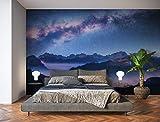 Oedim Fotomural Vinilo para Pared Paisaje Montañas Noche | Mural | Fotomural Vinilo Decorativo | 200 x 150 cm | Decoración comedores, Salones, Habitaciones