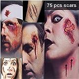 HANPURE Halloween Tatuajes Halloween Zombie Tattoo - 75 Estilos Horror Cicatrices Heridas Tatuajes Pegatinas, Realista Horror Tatuaje Temporal, Maquillaje Halloween Hombre Mujer (3L+3M)