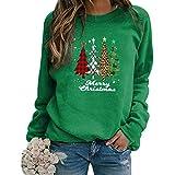 Sudadera Navidad Mujer Jersey Arbol Navideño Feo Sudaderas Navideñas Mujer Divertido Pullover Navidad Ugly Jerseys Navideños Adolescente Chica Sudadera Navideña Talla Grande Sueter Navideño Verde S