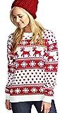 Mujeres Reindeer Snowflake Niños Navidad Madre Hija Hija Navidad 3-13 Año Jumper Tamaño Superior 36-52 (SM (EU 36-38), Crema)