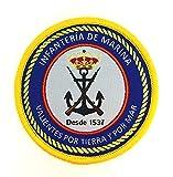 Gemelolandia | Parche Termoadhesivo Infantería de Marina, Valientes por Tierra y por Mar 7cm | Muy Adherentes | Patch Stickers Para Decorar Tu Ropa | Fáciles de Poner