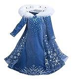 YOSICIL Niñas Vestido de Frozen Elsa Disfraz de Princesa Elsa con Capa Vestido Largo Traje de Fiesta Costume Princesa Disfraz Ceremonia de Fiesta Halloween Navidad 3-9 años