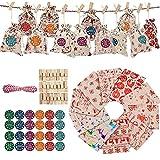 Zhihui Calendario de adviento 2021, decoración navideña, 24 días, guirnalda de yute, calendario de adviento para rellenar, bolsa de regalo, juego de manualidades para hombres y niños
