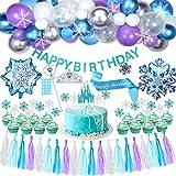 Tacobear Elsa Frozen Fiesta Cumpleaños Decoración Azul Fiesta Guirnalda de Globos Cake Cupcake Topper Banner Guirnalda de Borlas Tiara Varita mágica para Niñas Frozen Cumpleaños Fiesta Suministros