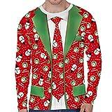 Navidad Sudadera Hombre Camiseta de Manga Larga Suéter Unisex Divertido de Cuello Redondo con Patrones Navideños de Impreso en 3D Ropa Otoño Invierno para Fiesta Navidad Casual