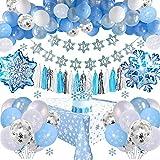 Decoraciones Cumpleaños Frozen con Pancarta Cumpleaños, Adornos Tartas, Borlas, Mantel, Globos Látex Azul Blanco Confeti para Niñas Mujeres, Cumpleaños, Baby Shower, Fiesta, Telón Fondo