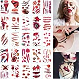 HJ Halloween Cicatrices Tatuajes Temporales Pegatinas, Zombie Tattoo, Realista Horror Tatuaje temporal, Hombre Mujer Etiqueta Impermeable Temporal, Cosplay, Accesorios de Maquillaje, Partido 30PCS