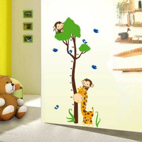 YESURPRISE-Vinilo-Decorativo-Infantil-Pegatina-Pared-Para-Saln-y-Dormitorio-Medidor-Infantil-Jirafa-Mono-0-0