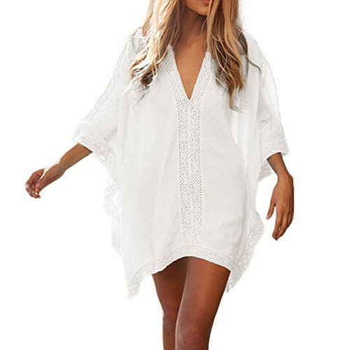 GenialES-Pareo-Playa-Bikini-Tnica-Baador-Playa-Verano-Beach-Bikini-Swimwear-Cover-up-Talla-nica-Blanco-0