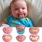 Bargain-World-Moda-beb-divertido-maniques-maniqu-pacifier-broma-dientes-novedad-labio-nio-chupete-0
