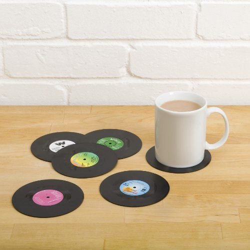 Posavasos originales con forma de discos de vinilo