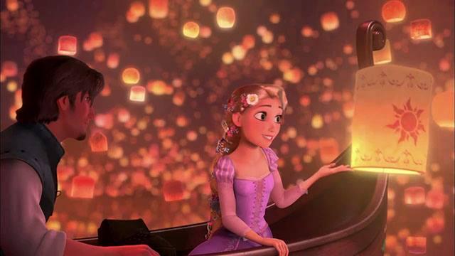 escena de los farolillos voladores de la película Enredados Rapunzel Tangled