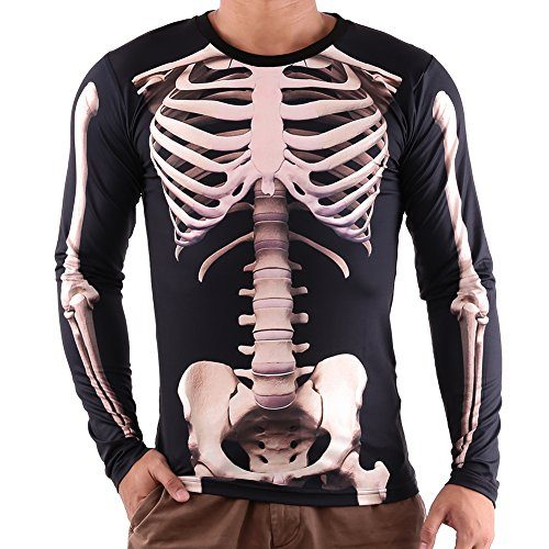 Vin-beauty-Hombres-Esqueleto-3D-Impresiones-Manga-larga-Ropa-de-la-camiseta-de-Halloween-Strechy-Skinny-Tops-0