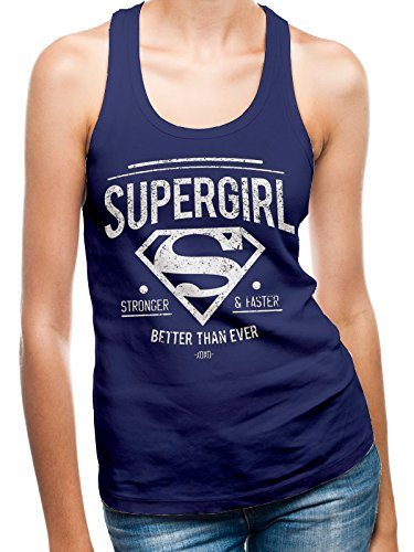 I-D-C-CID-Supergirl-Better-Than-Ever-Camiseta-de-Tirantes-para-Mujer-Azul-Navy-Blue-36-Tamao-FabricanteSmall-0