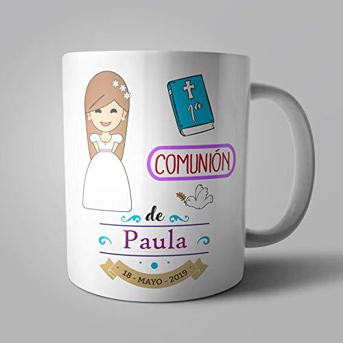 Taza recuerdo de la 1ª comunión para niña personalizada cabello castaño