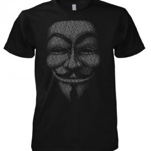 Camiseta con la máscara de Guy Fawkes con el slogan de Anonymous