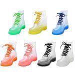 Botas de lluvia estilo Dr. Martens transparentes de varios colores
